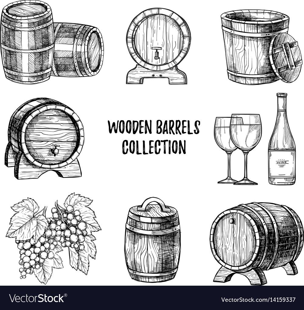 Wooden wine barrel hand drawn set