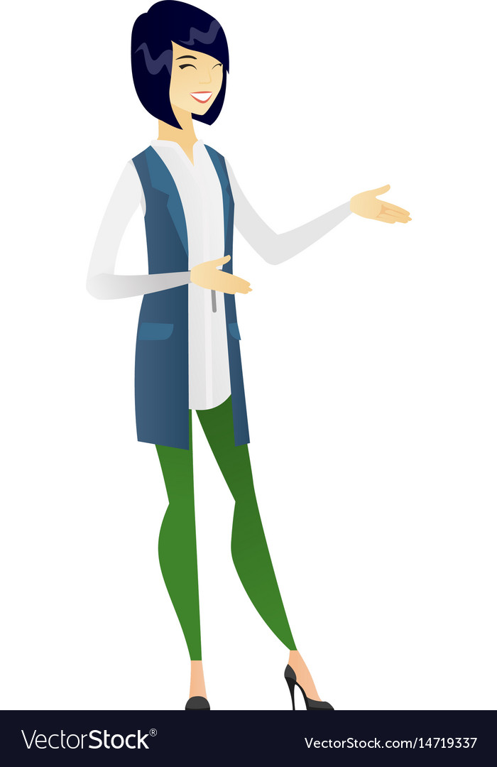 Young asian happy business woman gesturing vector image