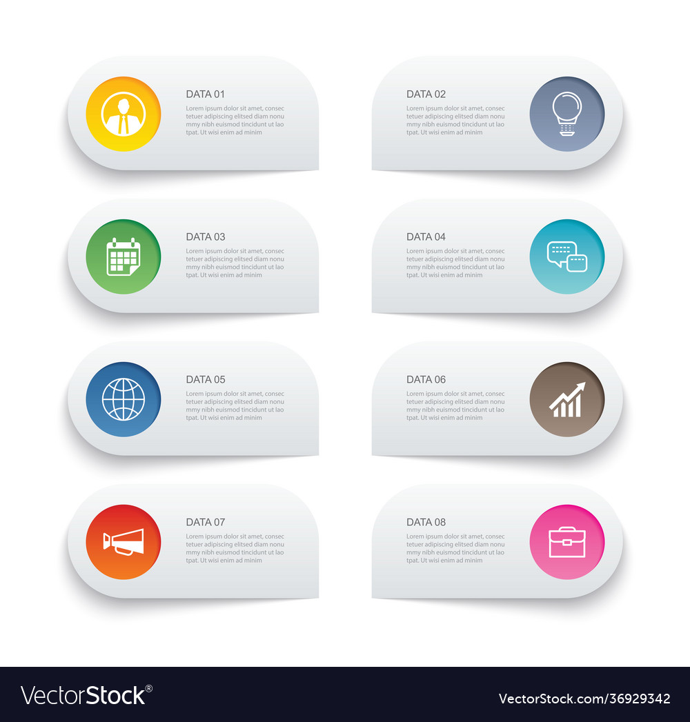 8 data infographics tab paper thin line index
