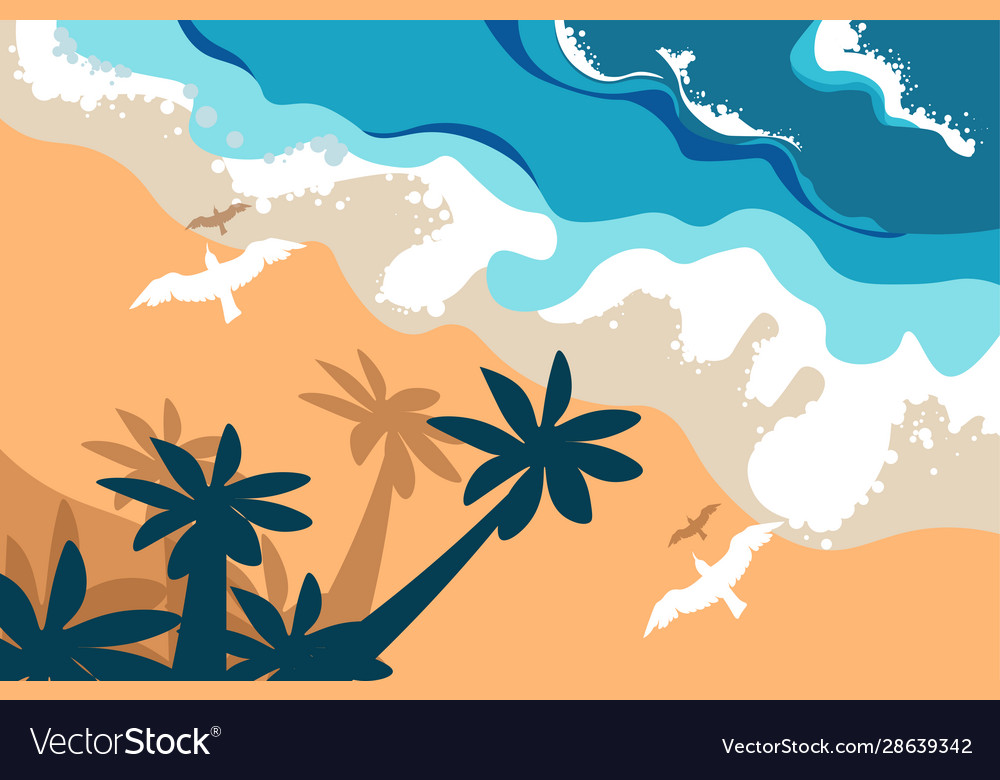 Beach summer landscape tropical island palms and