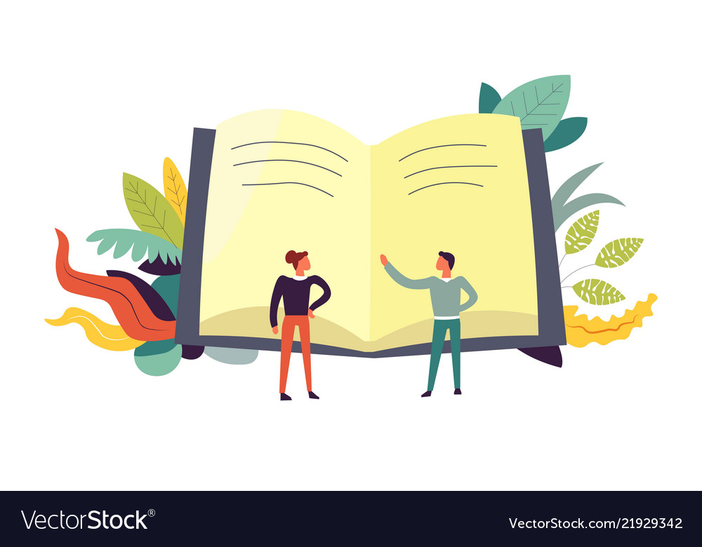 Book and people discussing topics leaves decor