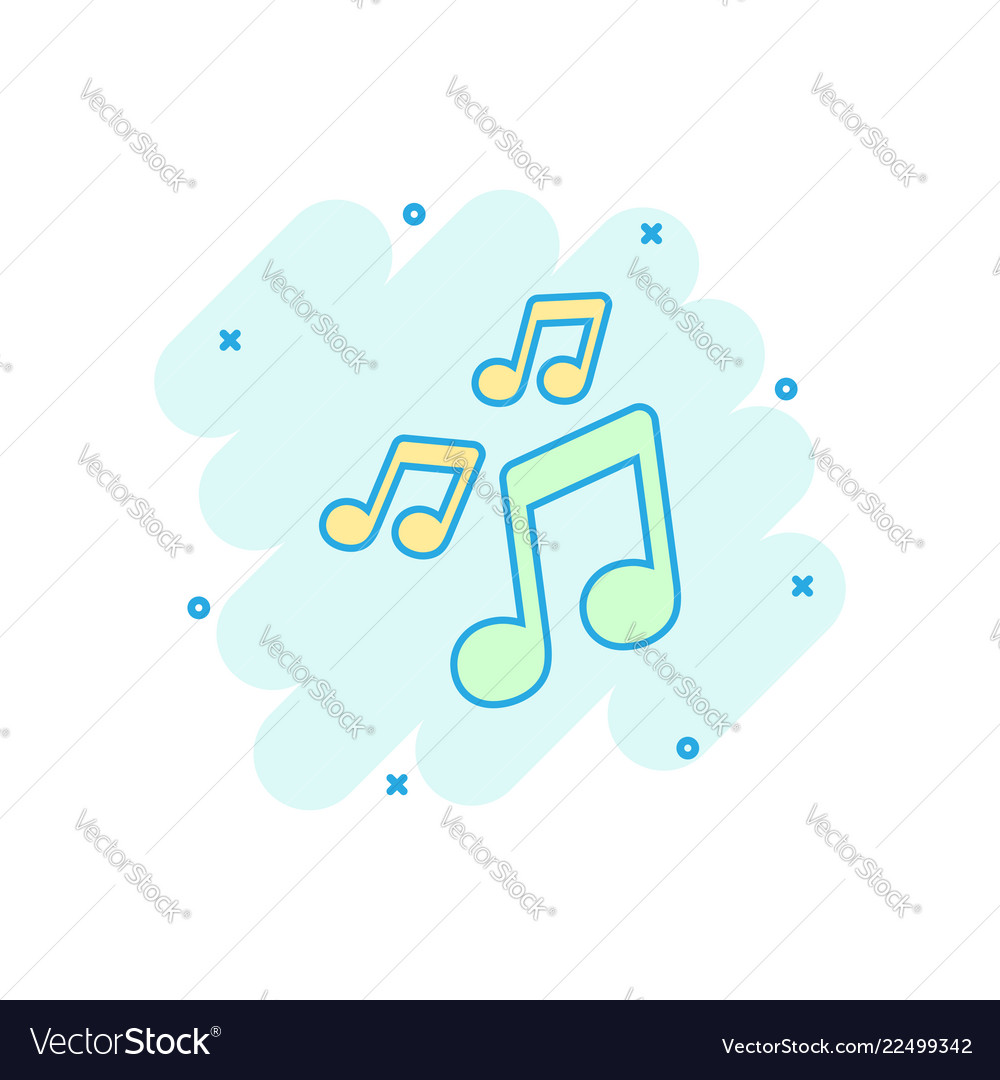 Cartoon music icon in comic style sound note sign
