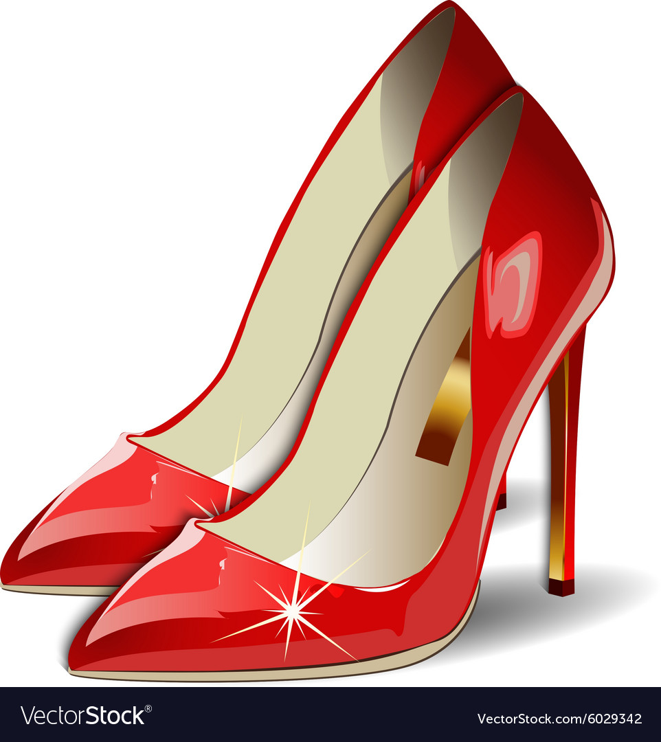 1266830310b9 Cartoon Red Women Shoes on white background Vector Image