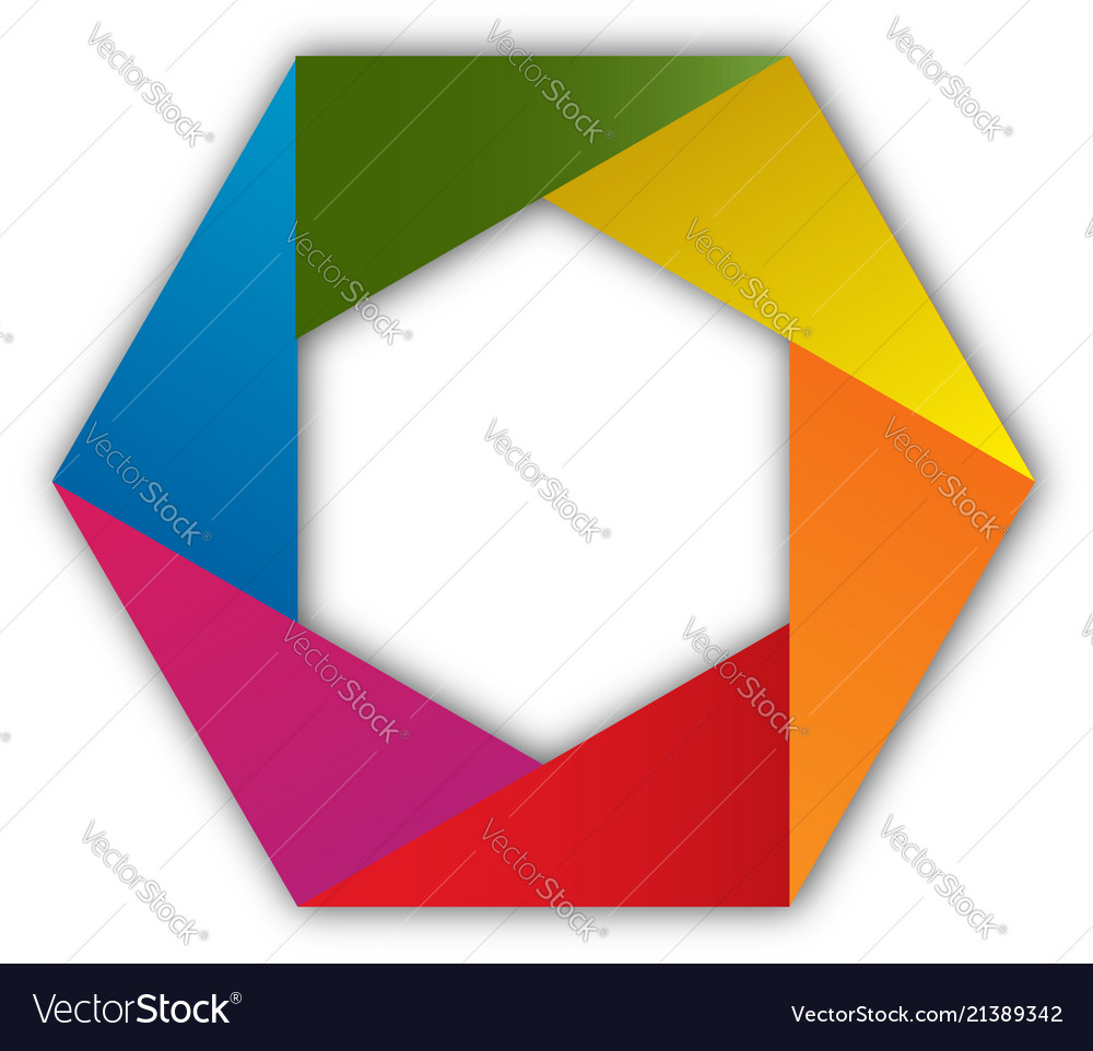 Colorful hexagon shape isolated icon