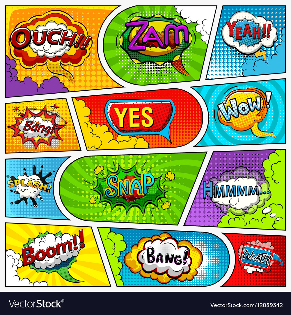 Comic book page background divided by lines vector image
