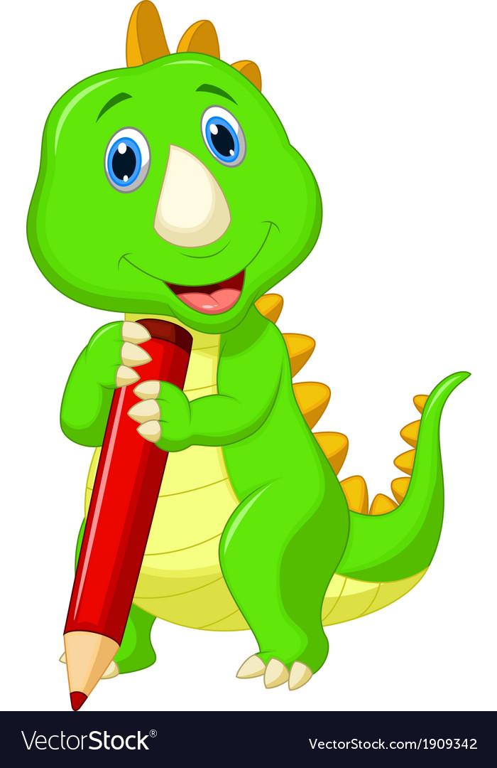 Cute dinosaur cartoon holding red pencil vector image