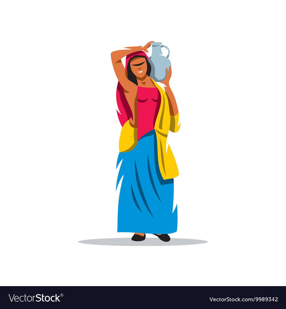 Girl with a jug Cartoon