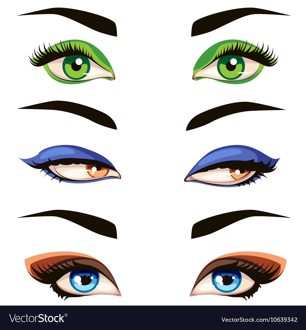 Hand drawn colored woman eyes vector image