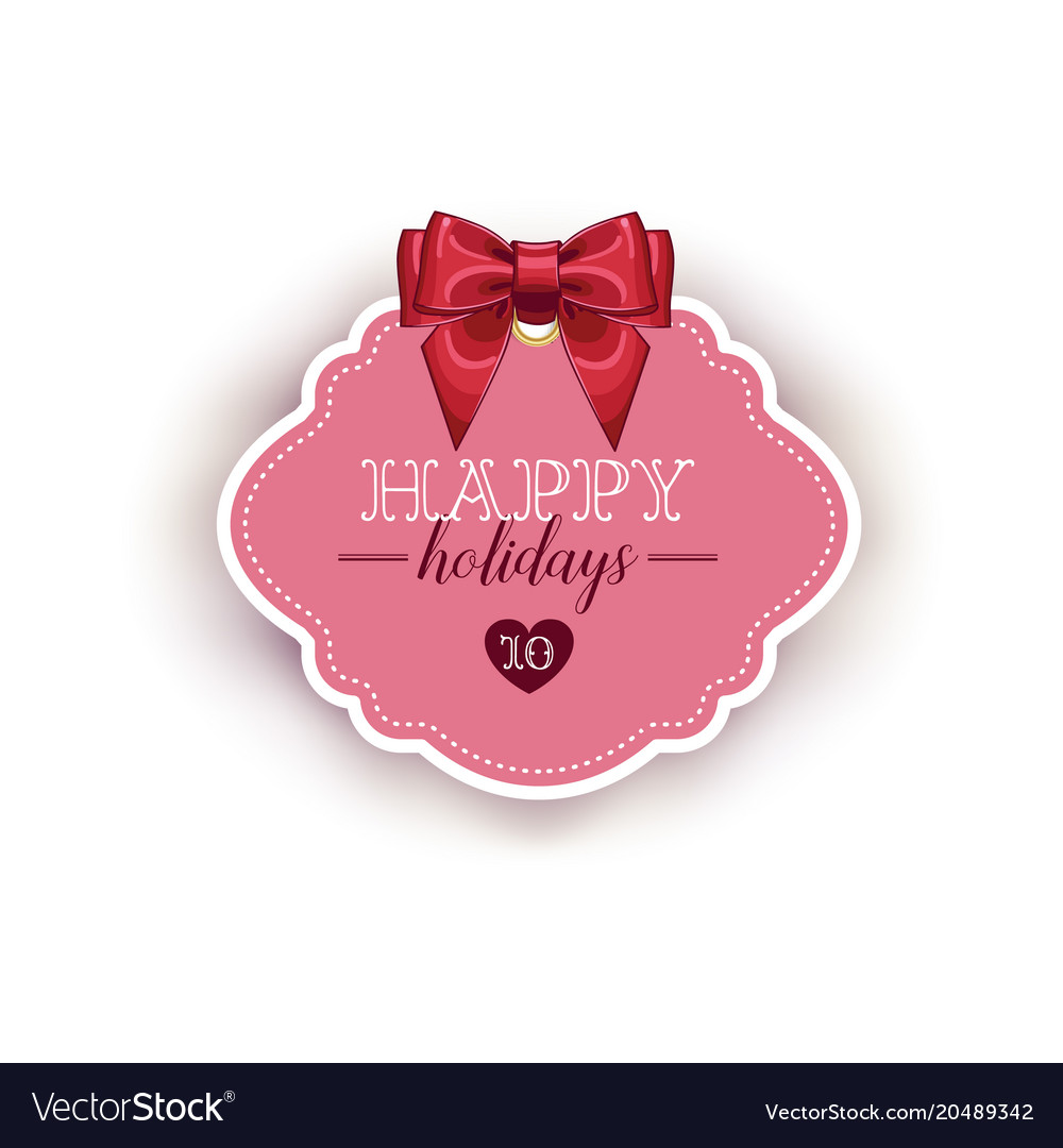 Happy holiday card template with ribbon