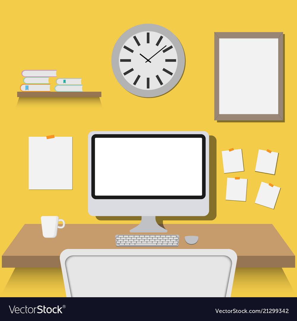 Office workspace flat design
