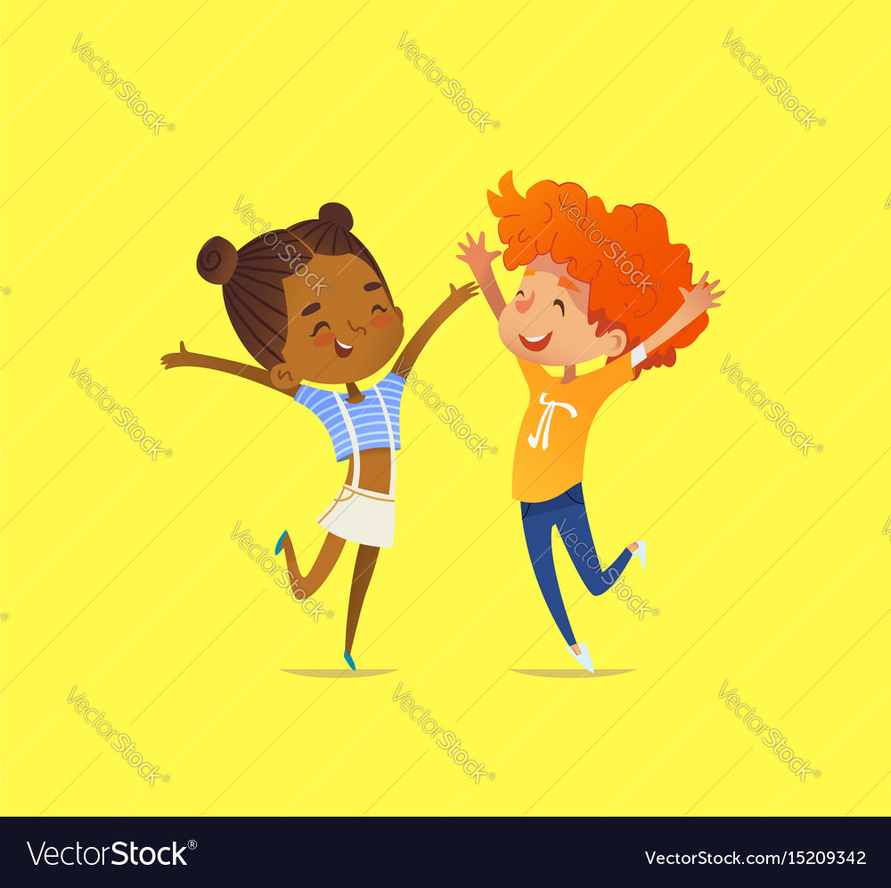 Pair of multiracial kids boy and girl happily