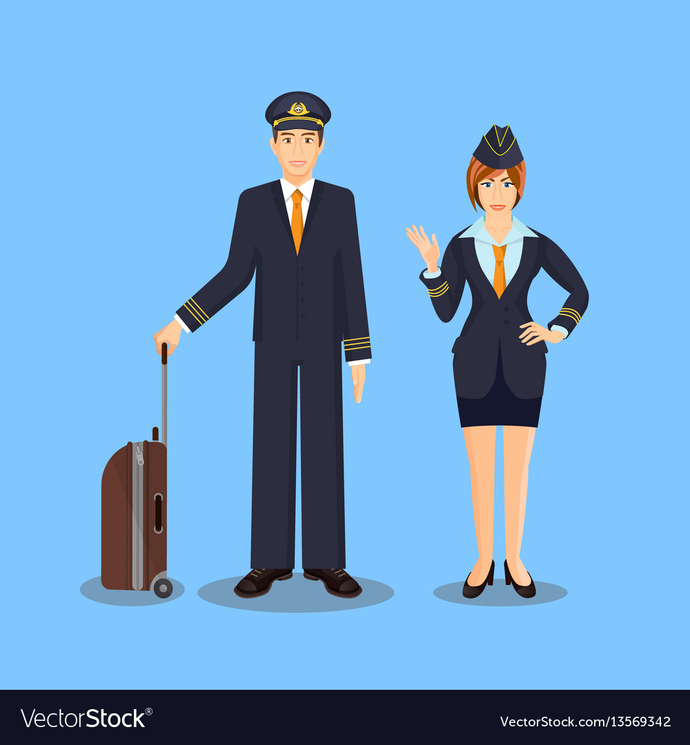 Pilot with brown suitcase and stewardess waving