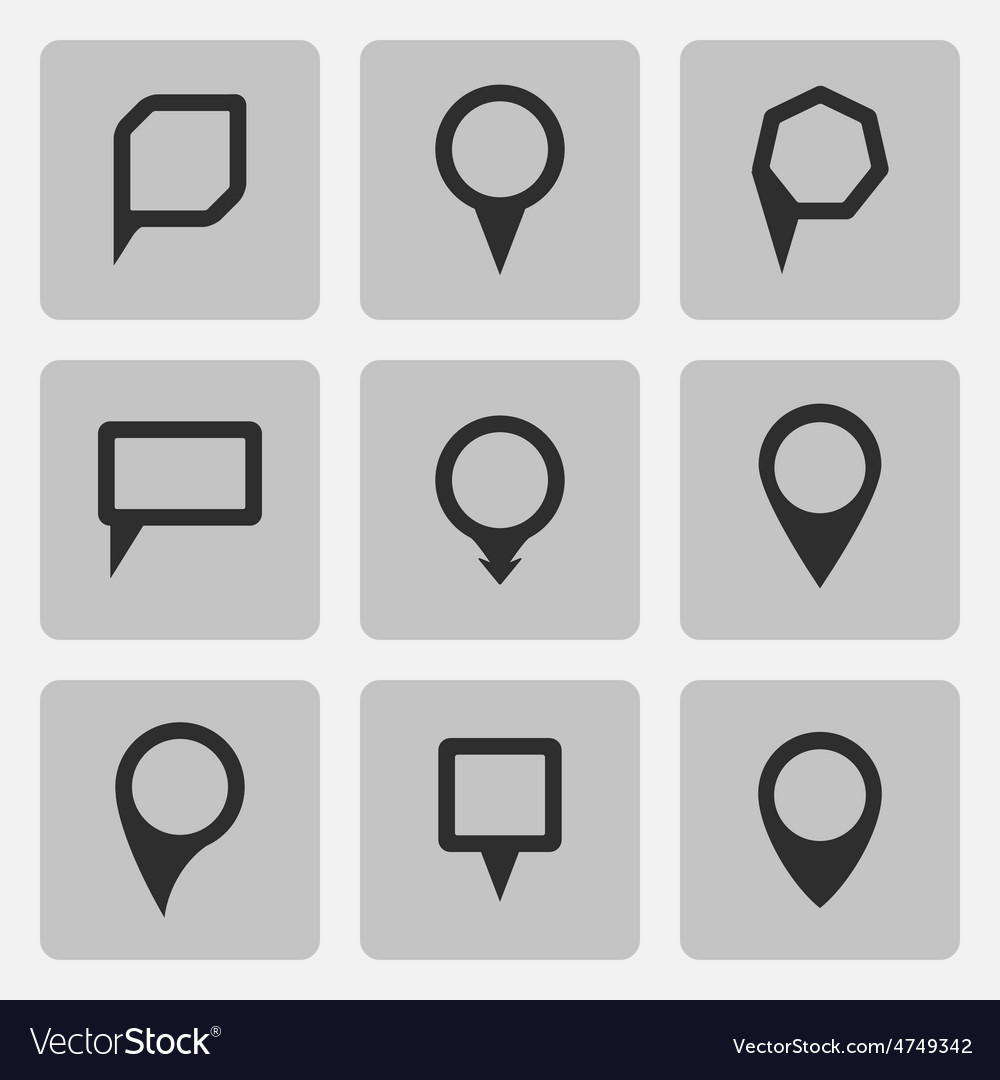 Pointer black icons set various forms