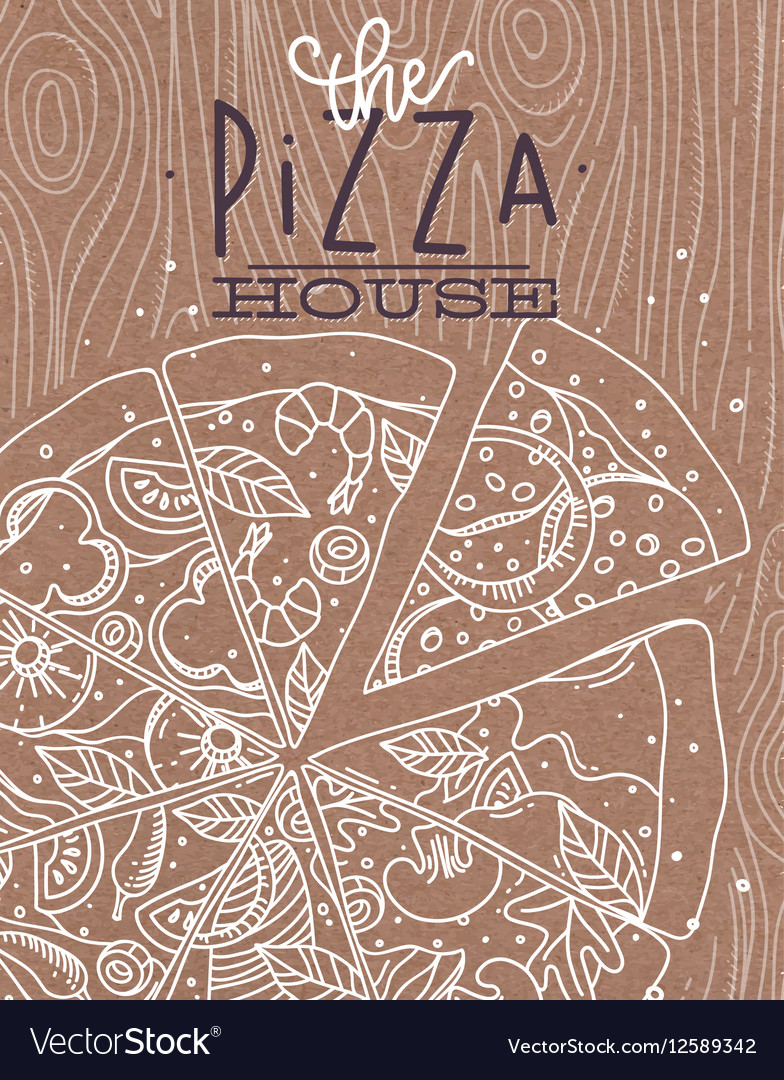 Poster pizza wood brown
