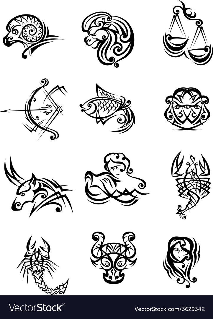 Set of black and white zodiac signs