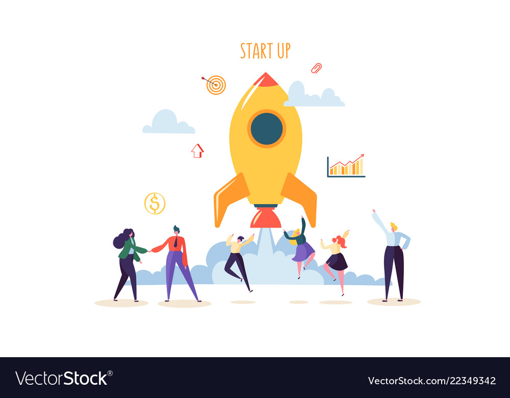 Startup concept with jumping happy characters