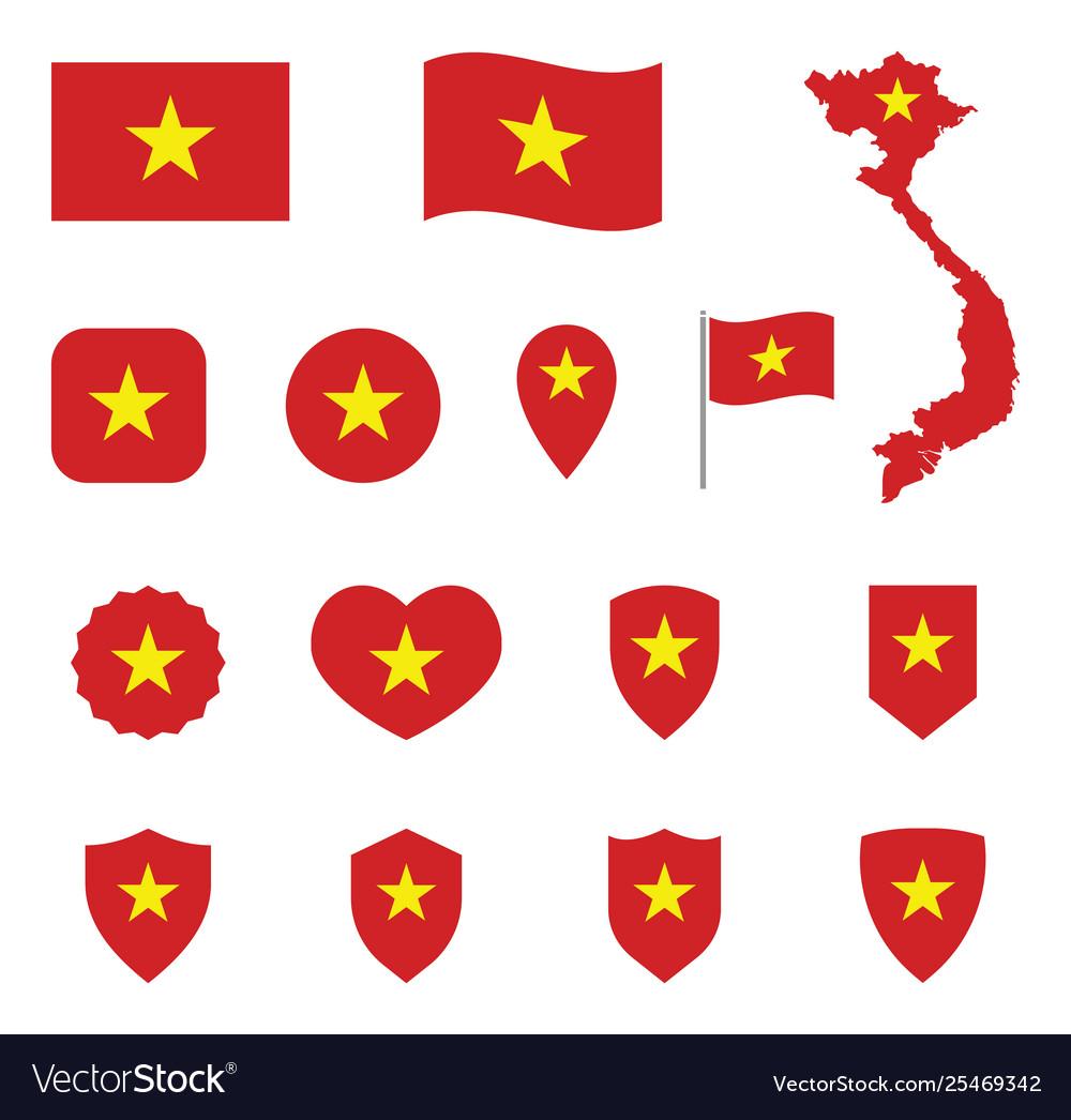 Vietnam flag icon set flag socialist