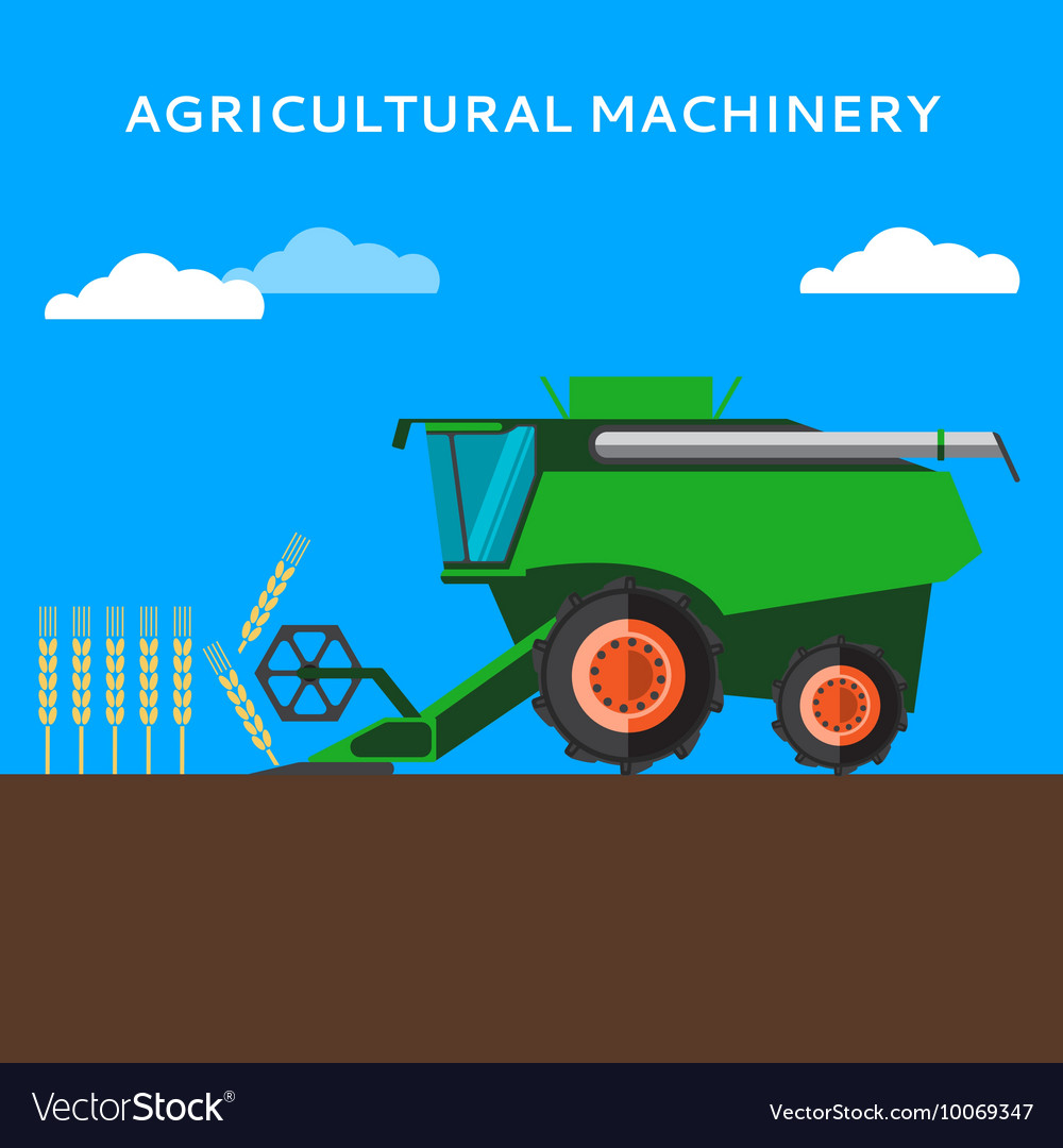 Agricultural combine machine is harvesting on the