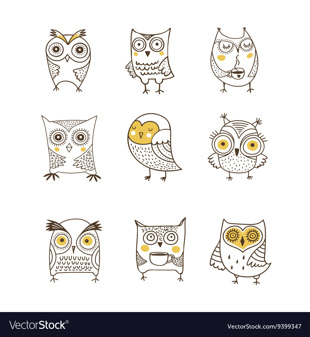 Cute hand drawn owl vector image