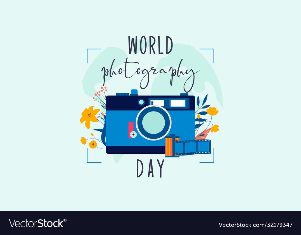 Flat Design World Photography Day Logo Royalty Free Vector