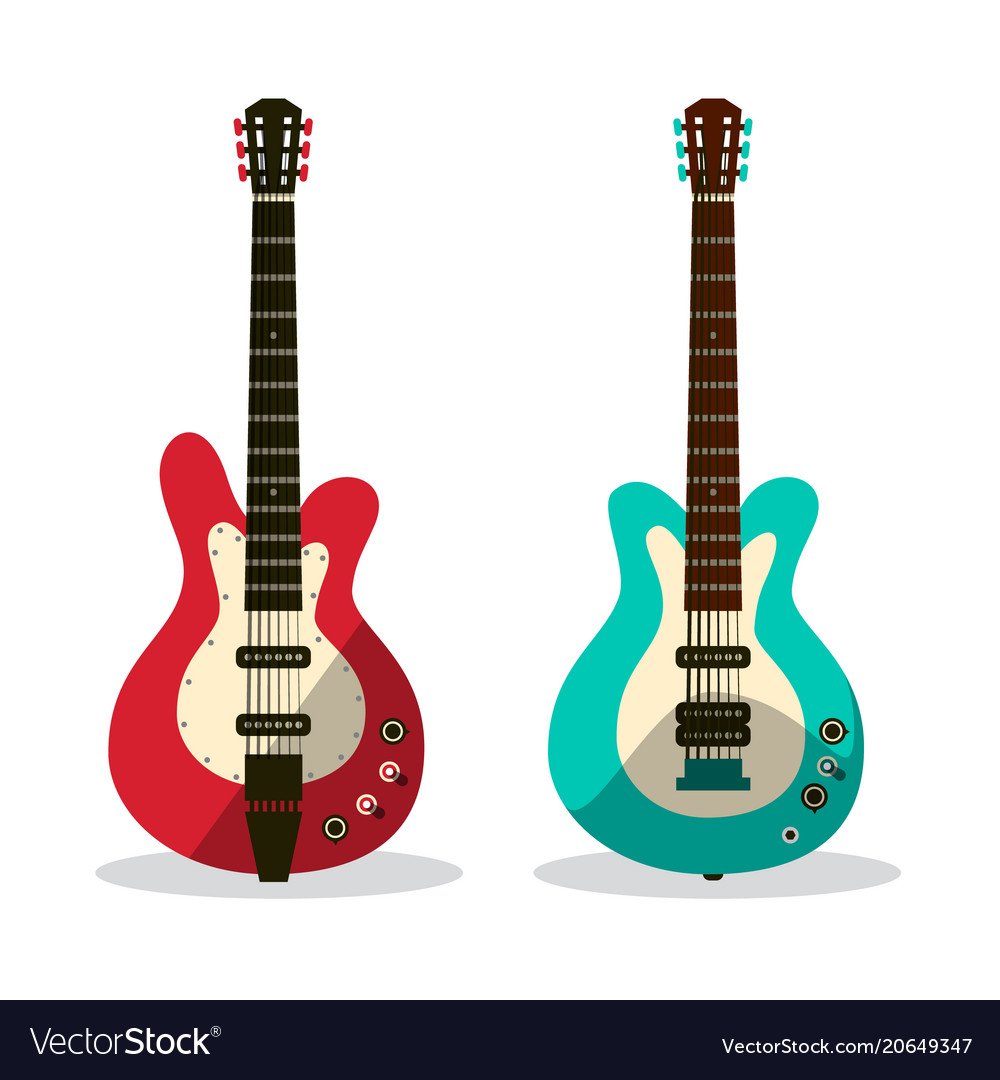 Guitar icon abstract retro guitars isolated on