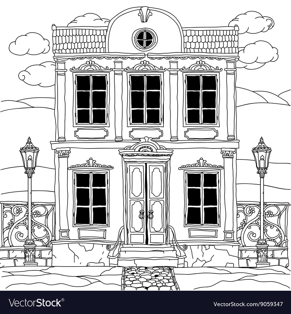 House drawing with details for adult coloring book