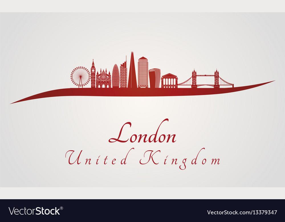 London v2 skyline in red