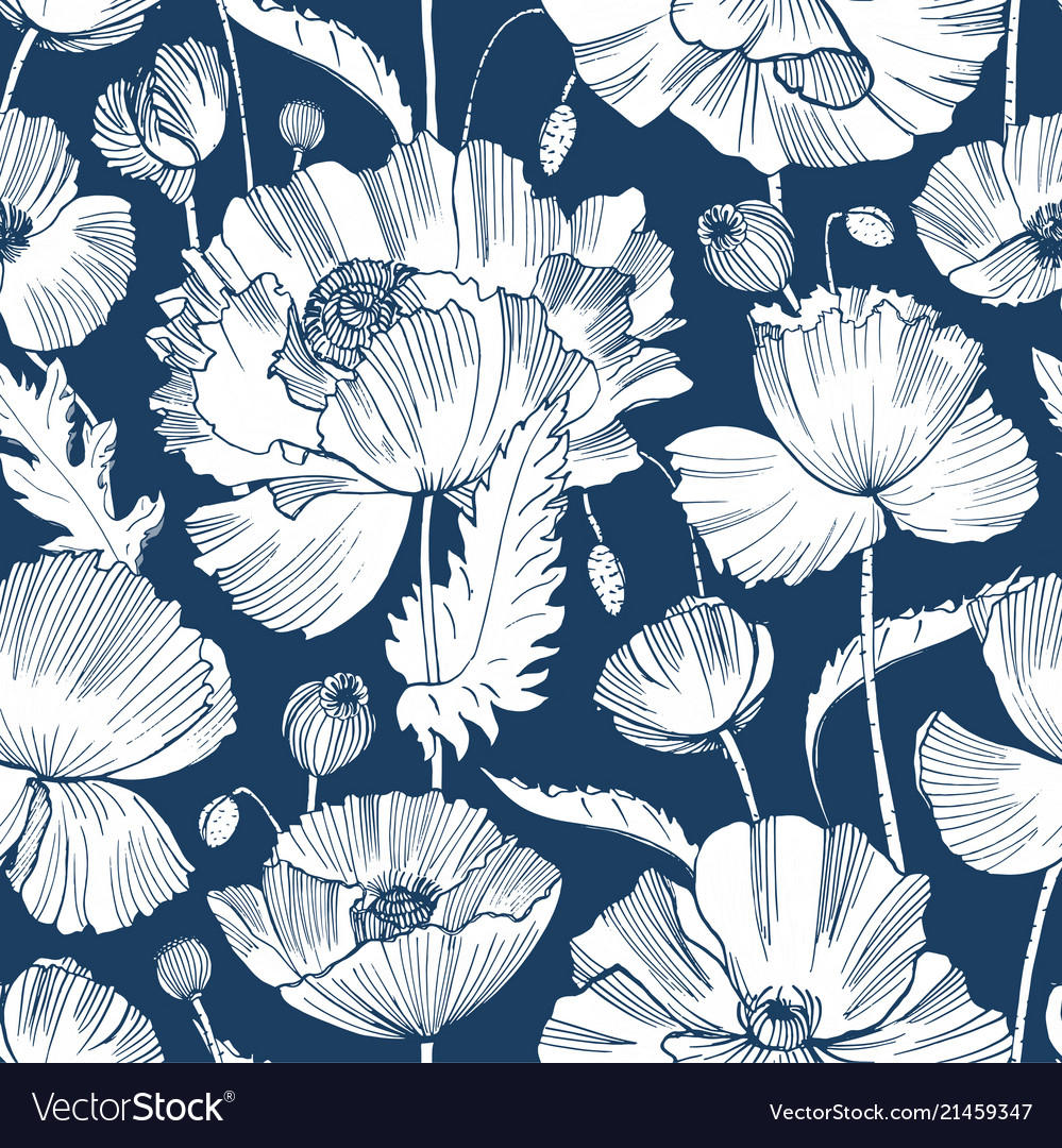 Monochrome seamless pattern with gorgeous blooming