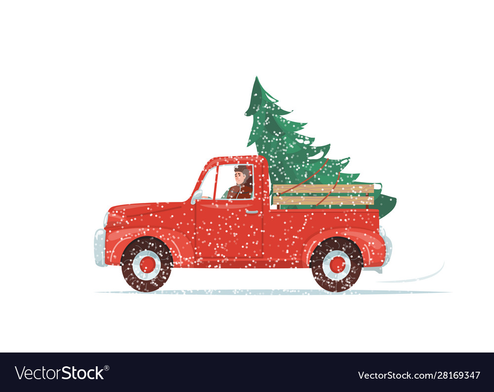 Red christmas truck with green fir tree at the