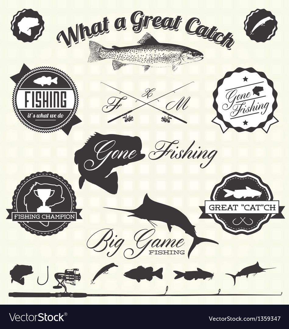 Retro Gone Fishing Labels and Icons