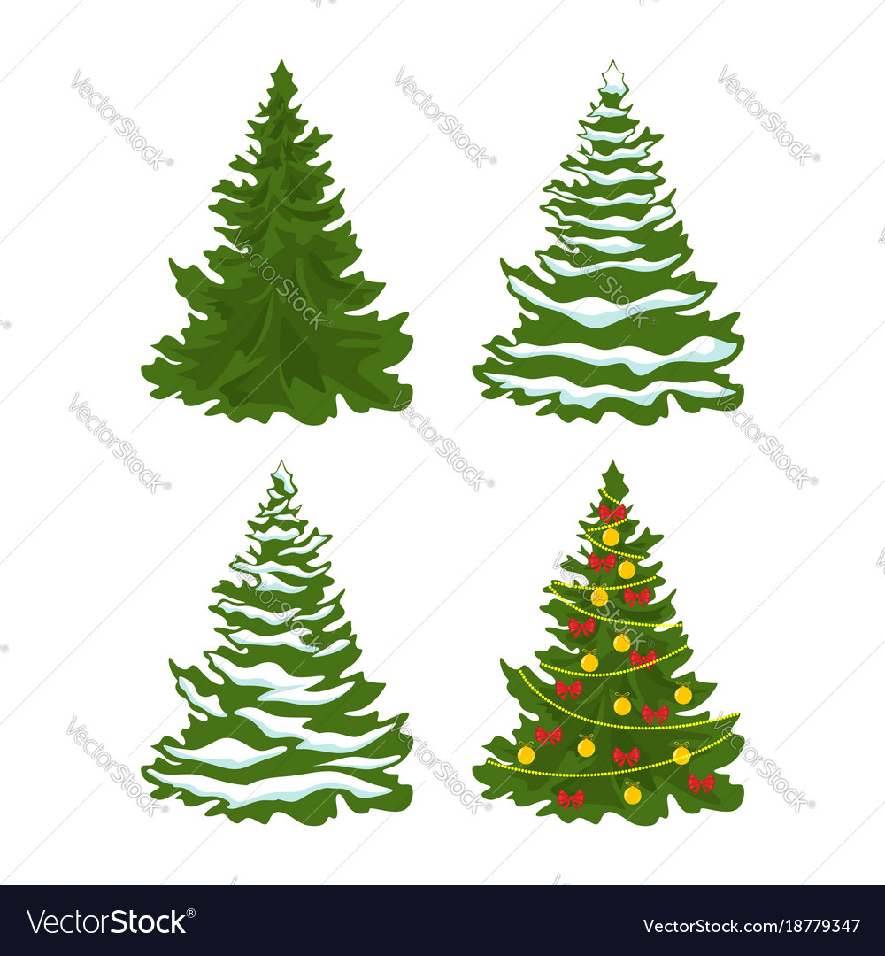 Christmas Tree Vector Image.Set Of Christmas Trees With Snow