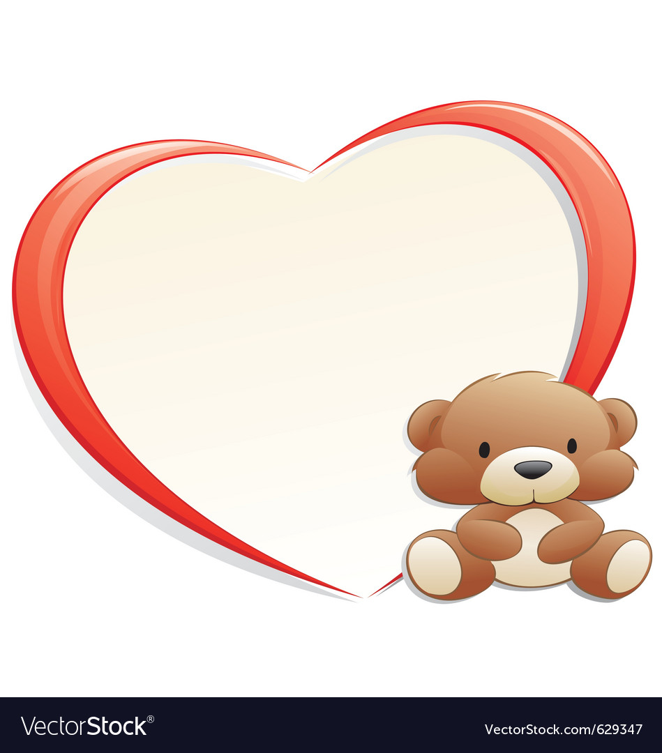 Teddy bear with frame Royalty Free Vector Image