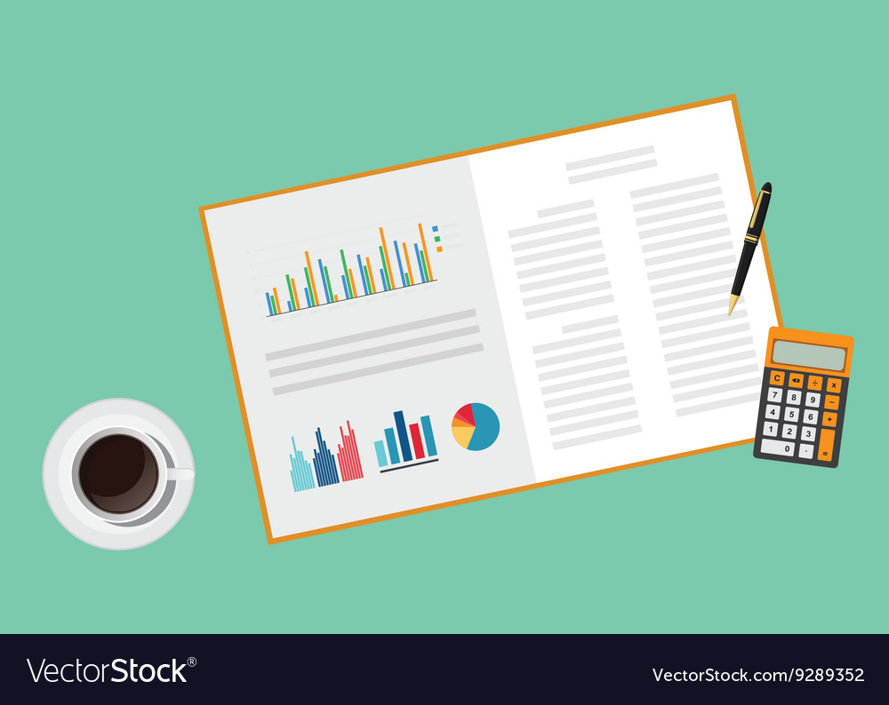 Business proposal document paper work with graph vector image