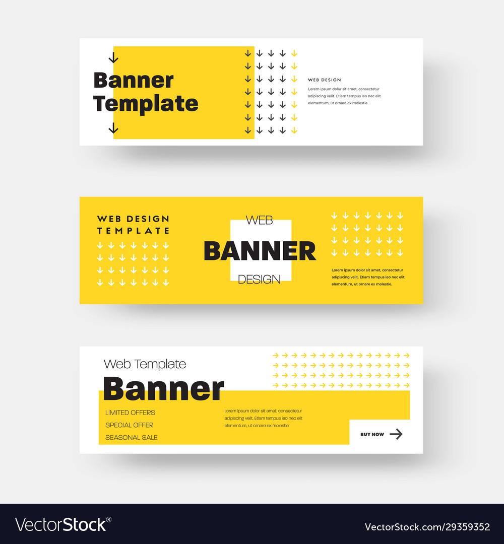 Rectangular horizontal web banner with yellow and
