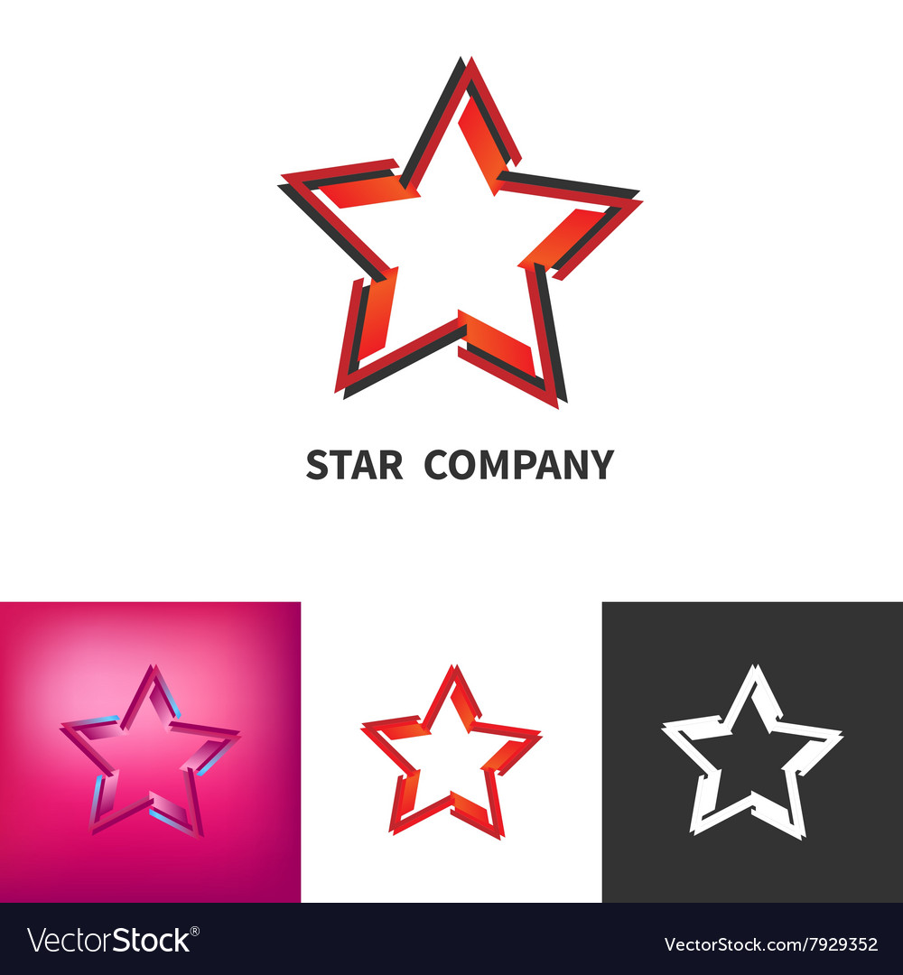 Scattered Star Logo Set Colored Black And White