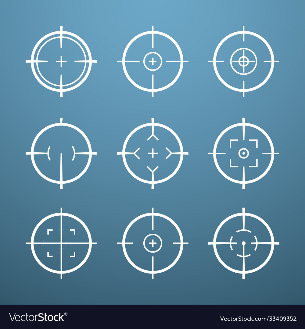 Target aim icons military set crosshair target