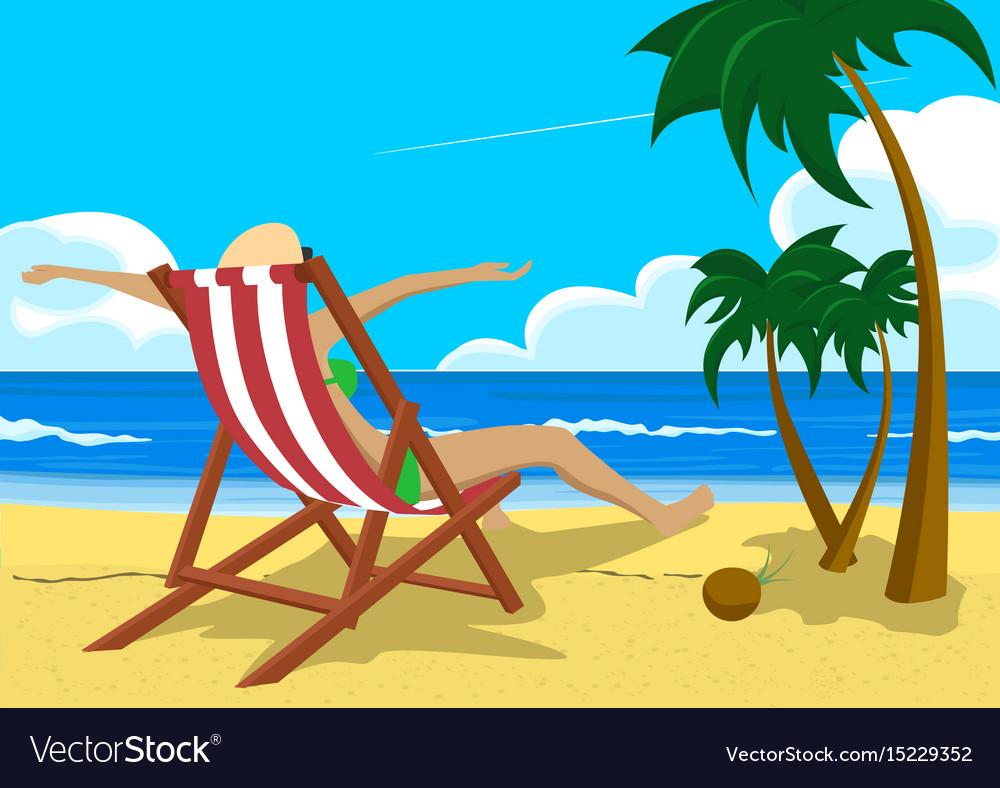 99efd5edb9 Woman sitting in deck chair on tropical beach
