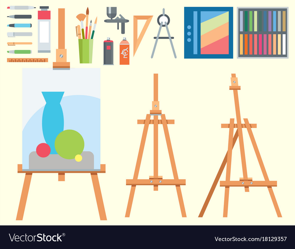 Art tools flat painting icons details stationery