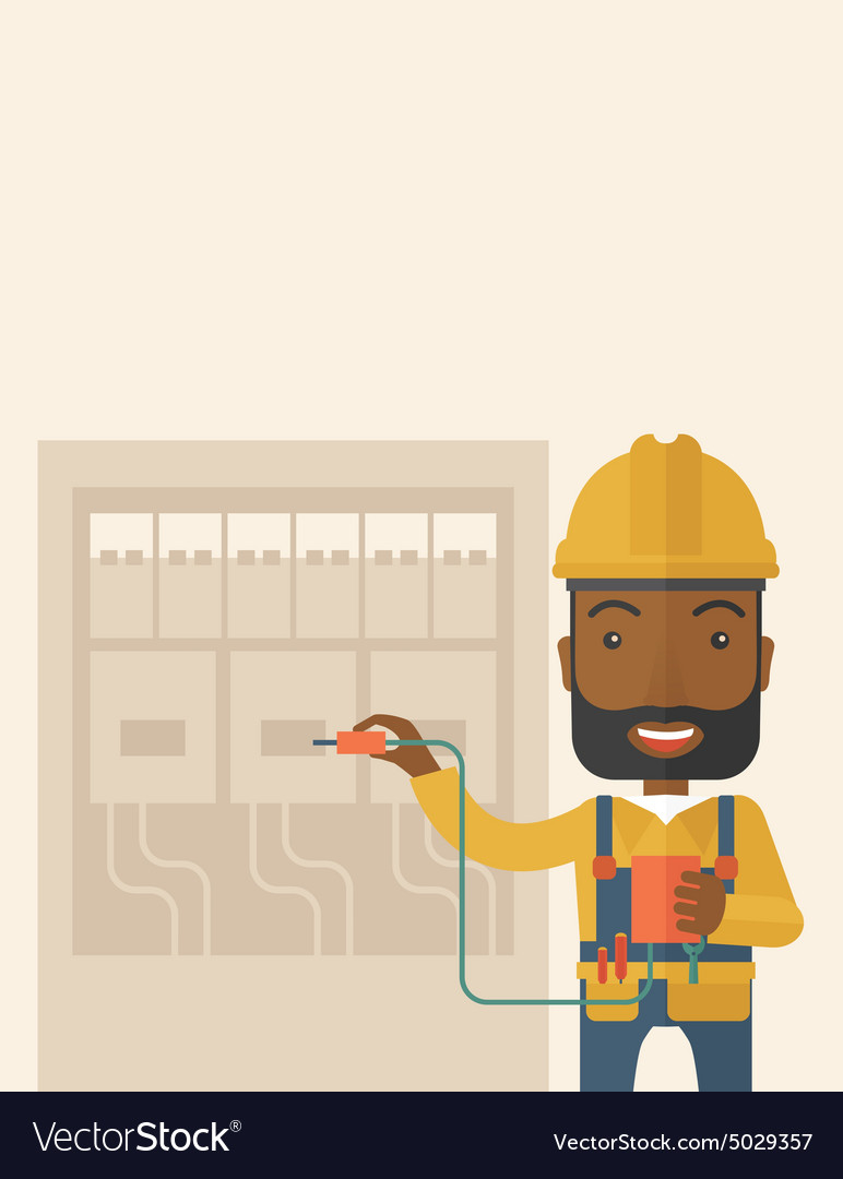 Black electrician repairing an electrical panel vector image