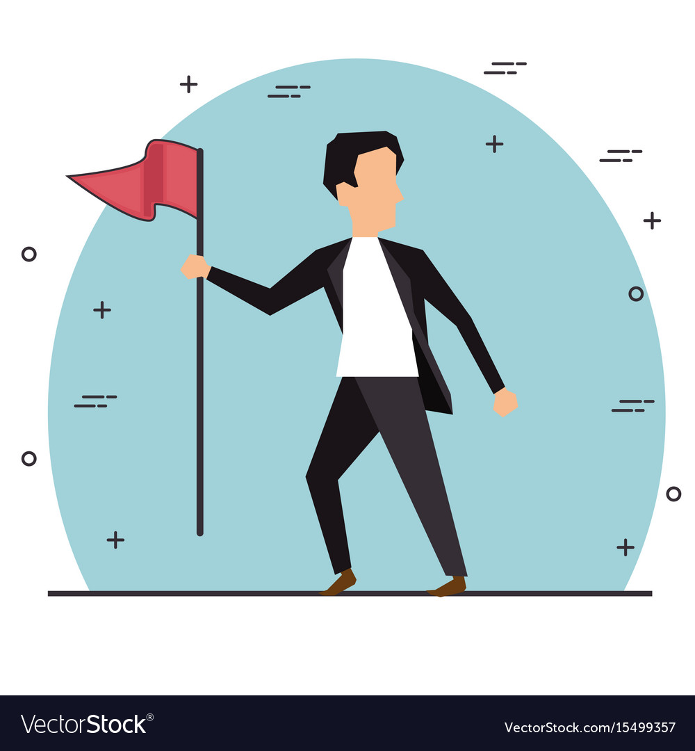 Businessman holding flag vector image