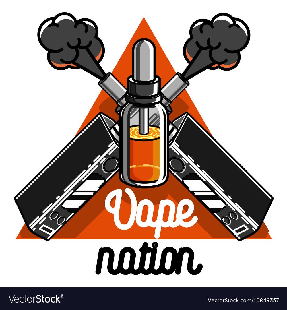 Color vintage vape e-cigarette emblem