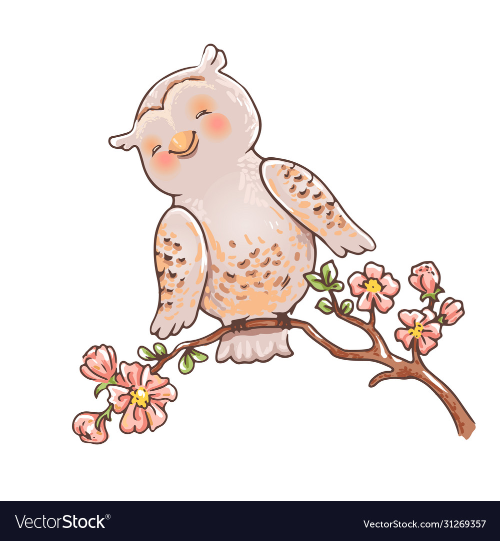 Cute owl on a branch spring kids