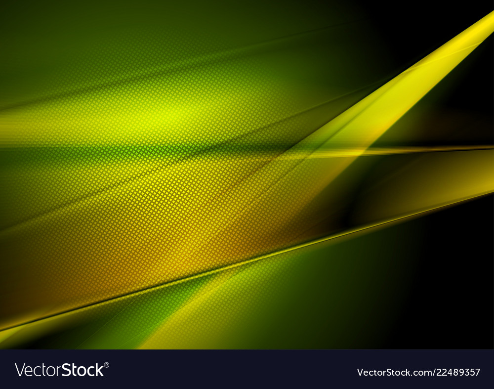Dark Green And Yellow Abstract Shiny Background