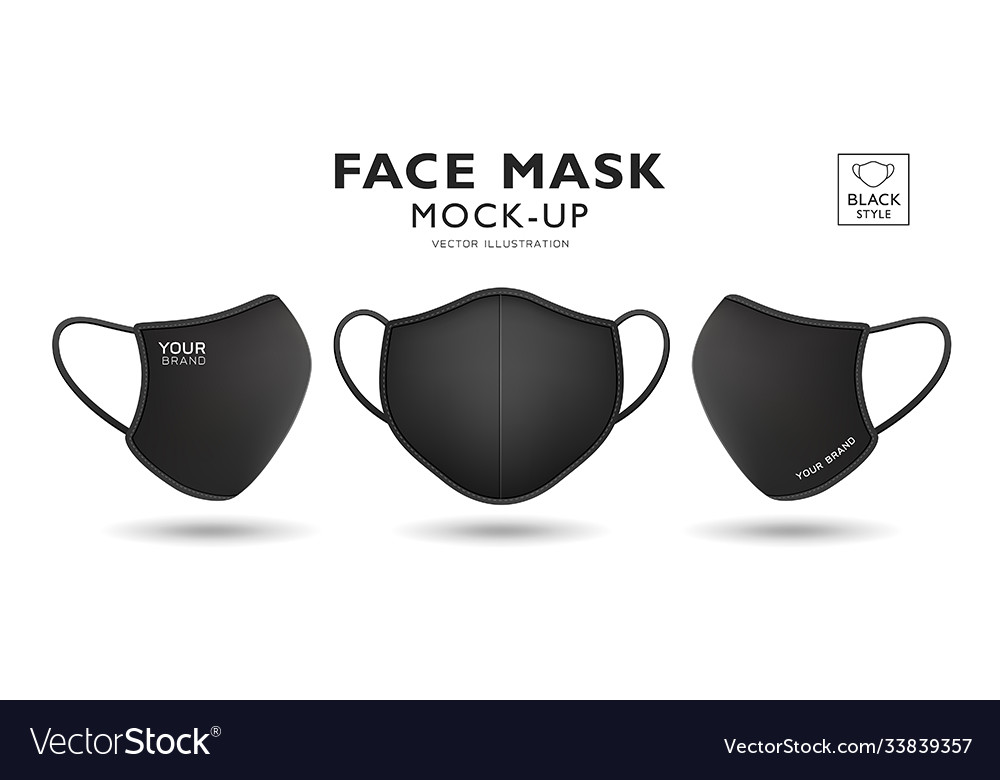 Face mask fabric black mock up front and side