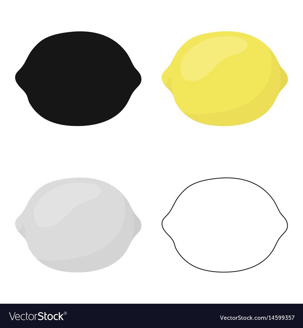 Lemon icon cartoon singe fruit icon
