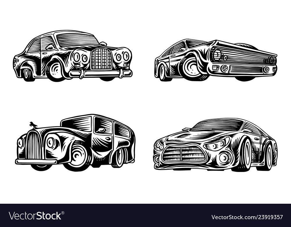 Muscle cars and vintage transports for logo and