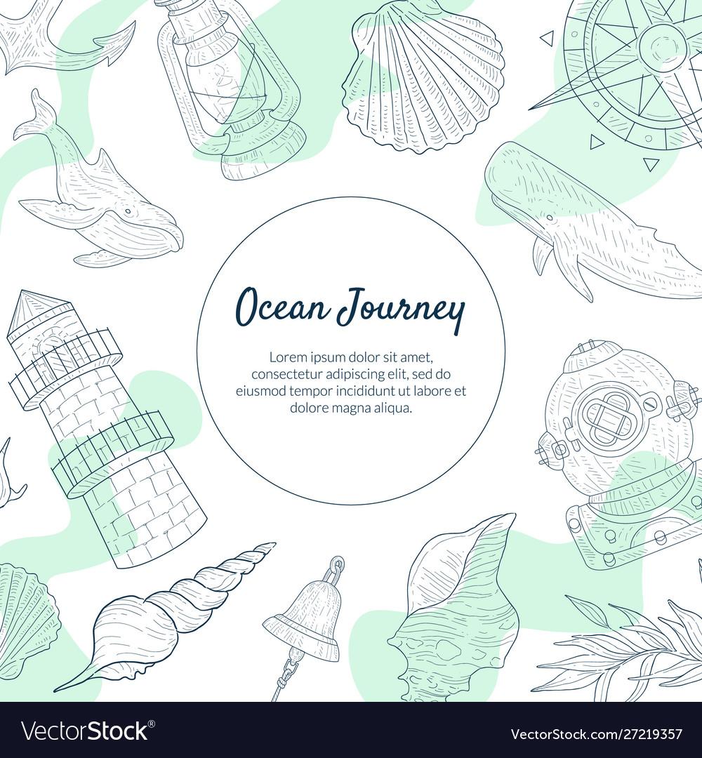 Ocean journey banner template sea travel hand