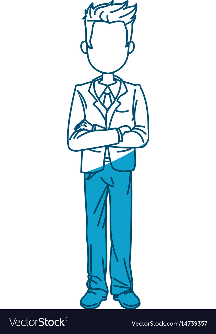 Young business man standing with his hands cross