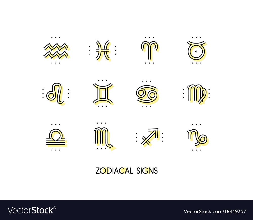 Zodiac icon sacred symbols astrology signs