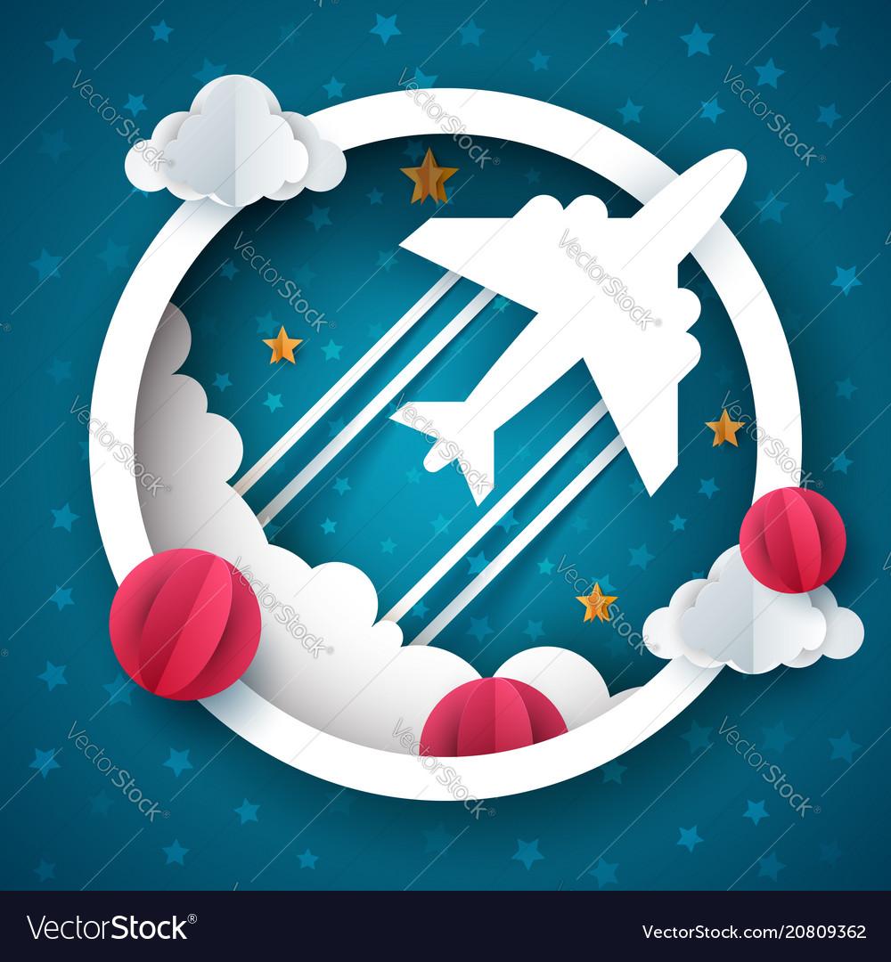 Airplane cartoon cloud star
